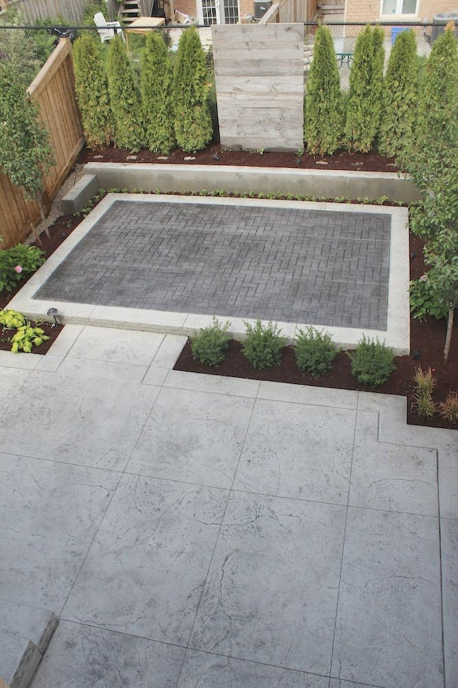Stamped patio gray